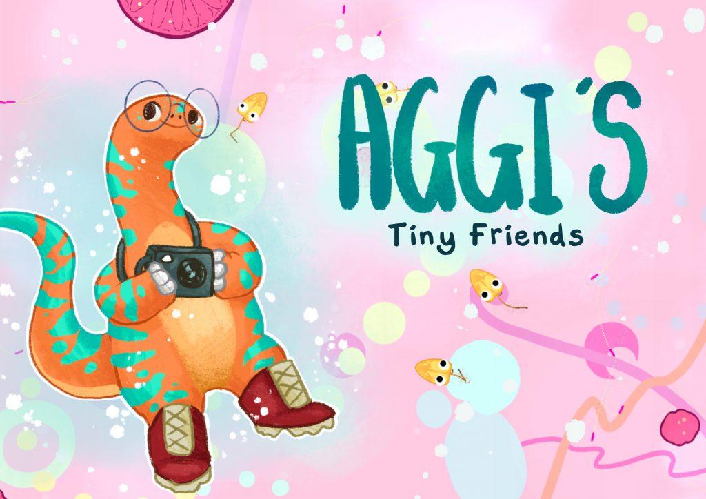 Aggi's Tiny Friends game postcard